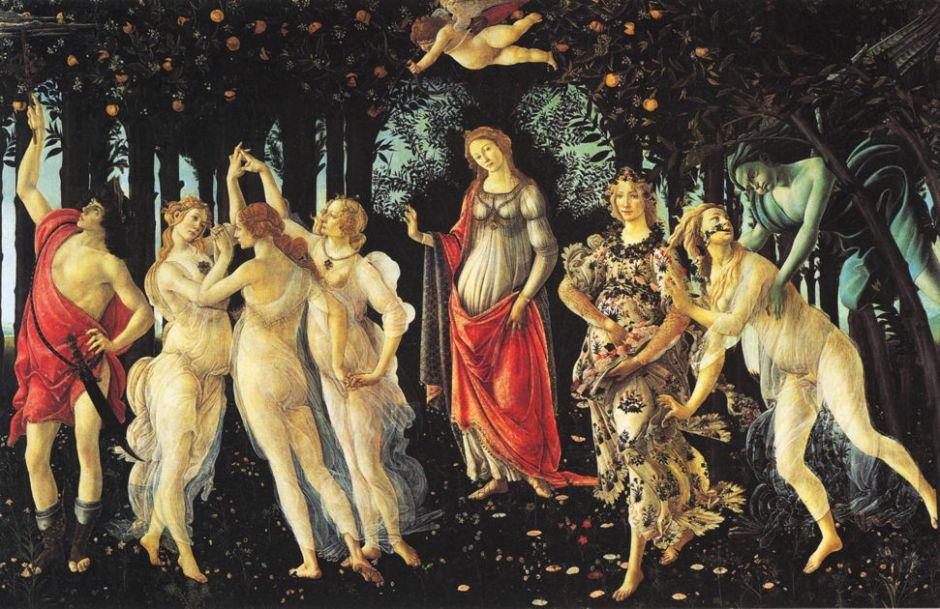 Sandro Botticelli, Primavera (Spring) (1478), egg tempera on panel, 314 x 203 cm, Galleria degli Uffizi, Florence. WikiArt.
