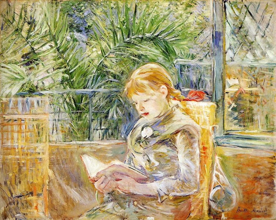 Berthe Morisot, La Lecture (Reading)(1888), oil on canvas, 74.3 x 92.7 cm, Museum of Fine Arts, St Petersburg, Florida. WikiArt.