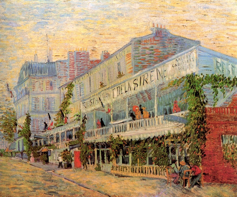 Vincent van Gogh, Restaurant de la Sirène at Asnières (1887), oil on canvas, 54 x 65 cm, Musée d'Orsay, Paris. WikiArt.
