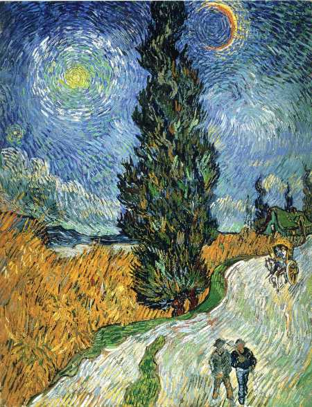 Vincent van Gogh, Road with Cypress and Star (1890), oil on canvas, 92 x 73 cm, Kröller-Müller Museum, Otterlo. WikiArt.