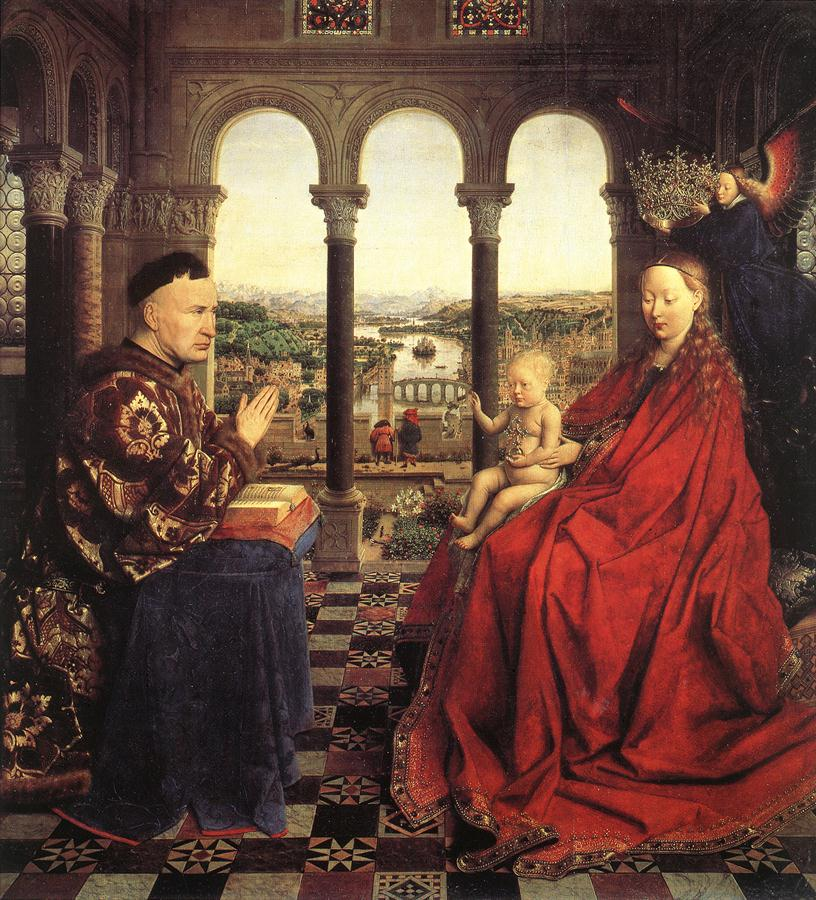 Jan van Eyck, The Madonna of Chancellor Rolin (c 1435) oil on panel, 66 x 62 cm. Musée du Louvre, Paris (WikiArt).