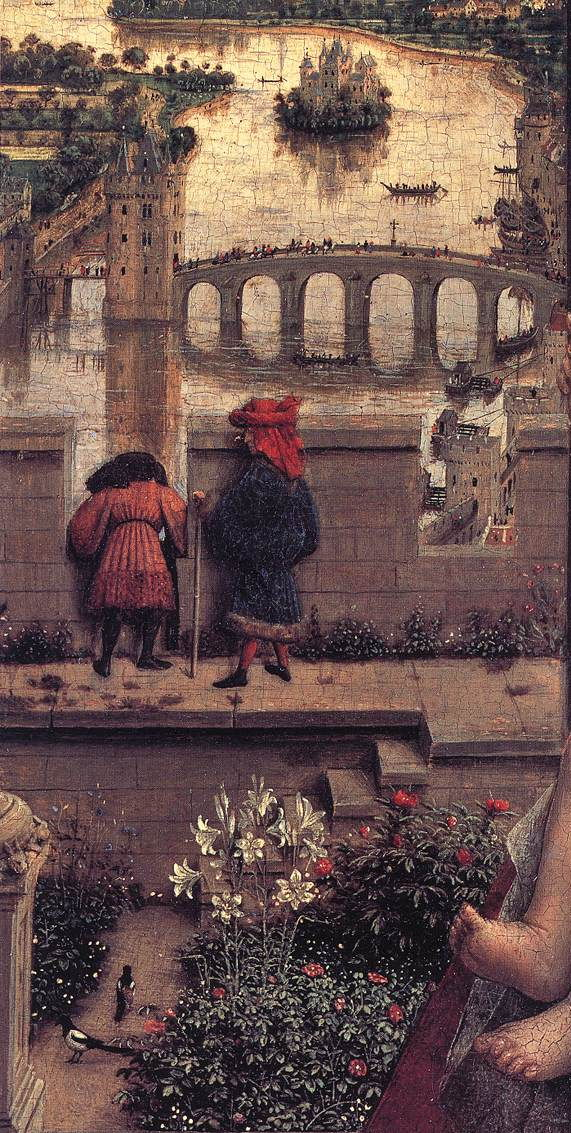 Jan van Eyck, The Madonna of Chancellor Rolin (detail) (c 1435) oil on panel, 66 x 62 cm. Musée du Louvre, Paris (WikiArt).