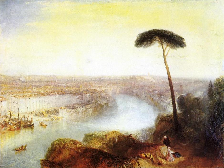 Joseph Mallord William Turner, Rome, from Mount Aventine (1835), oil on canvas, 92.7 x 125.7 cm, Private collection. WikiArt. Sold in Dec 2014 for £30.3 million.