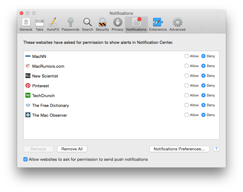 Block notifications in Safari unless you really need them.