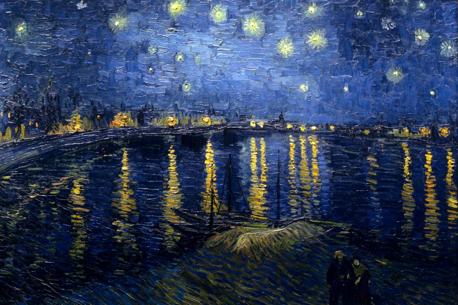 Vincent van Gogh, Starry Night over the Rhône (1888), oil on canvas, 72.5 x 92 cm, Musée d'Orsay, Paris. WikiArt.