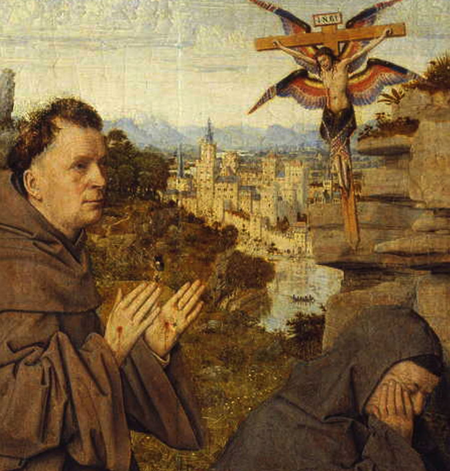 Jan van Eyck, Saint Francis of Assisi Receiving the Stigmata (detail) (1430-2) oil on panel, 29.3 x 33.4 cm. Galleria Sabauda, Turin (WikiArt).