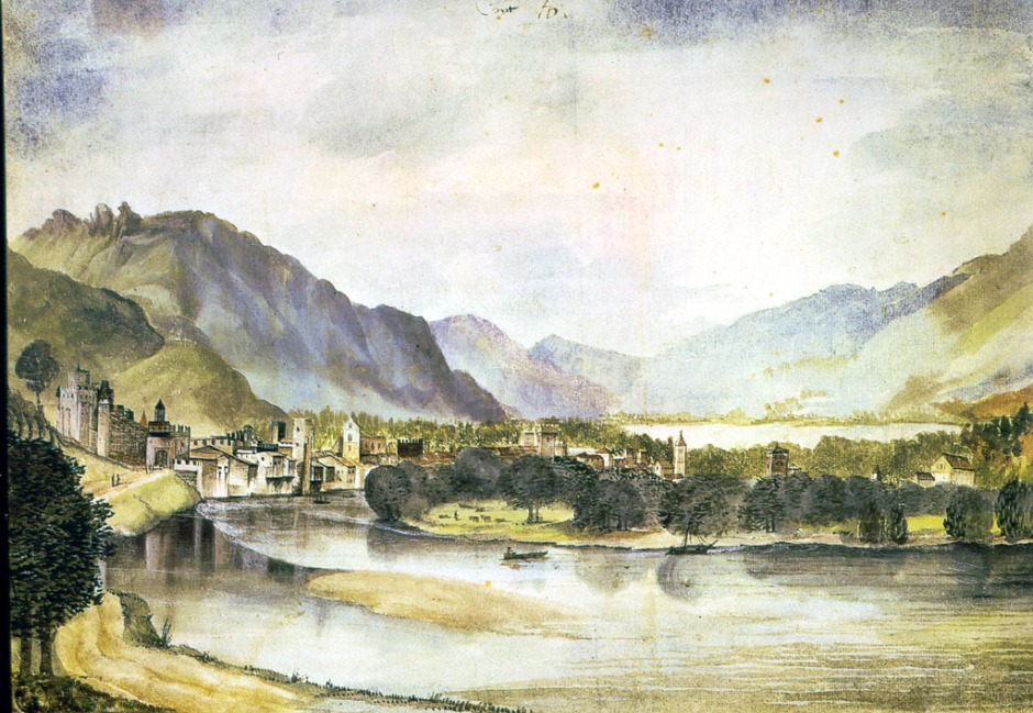 Albrecht Dürer, View of Trento, 1494-5, watercolour and bodycolour on paper, 23.8 x 35.6 cm. Kunsthalle, Bremen; currently held by the Russian Federation, Moscow (WikiArt).