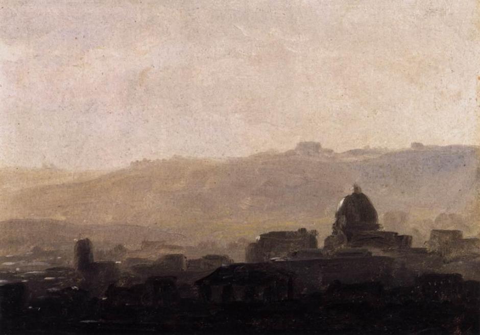 Pierre-Henri de Valenciennes, Rome: Houses and a Domed Church (c 1783), oil on cardboard, 18 x 25 cm, Musée du Louvre, Paris. Wikimedia Commons.