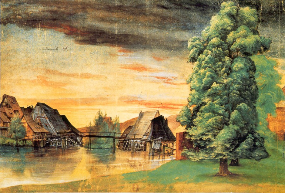 Albrecht Dürer, The Willow Mill, 1498 or after 1506, watercolour, bodycolour, pen and ink on paper, 25.3 x 36.7 cm. Bibliothèque Nationale, Dept des Estampes et de la Photographie, Paris (WikiArt).