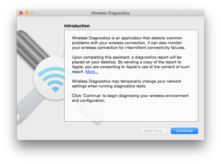 Wireless Diagnostics can help you through the difficult task of diagnosing WiFi problems.