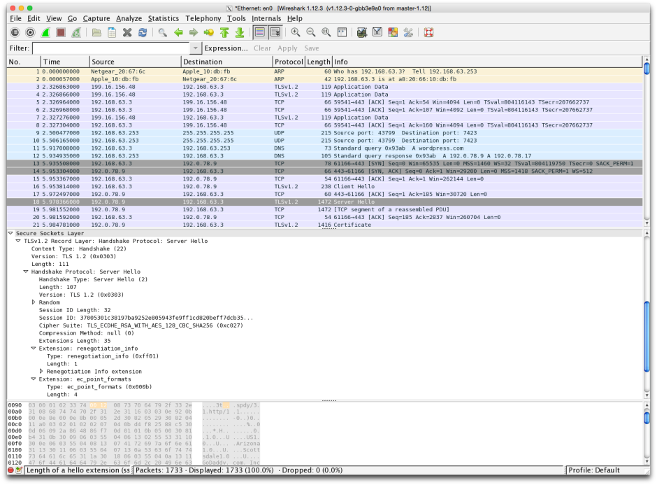 Wireshark. Captured packets are shown in time sequence in the upper pane, their translated contents below, and the original hex data at the bottom.
