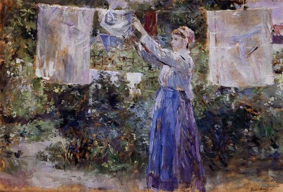 Berthe Morisot, Woman Hanging the Washing (1881), oil on canvas, 46 x 67 cm, Ny Carlsberg Glyptotek, Copenhagen. WikiArt.