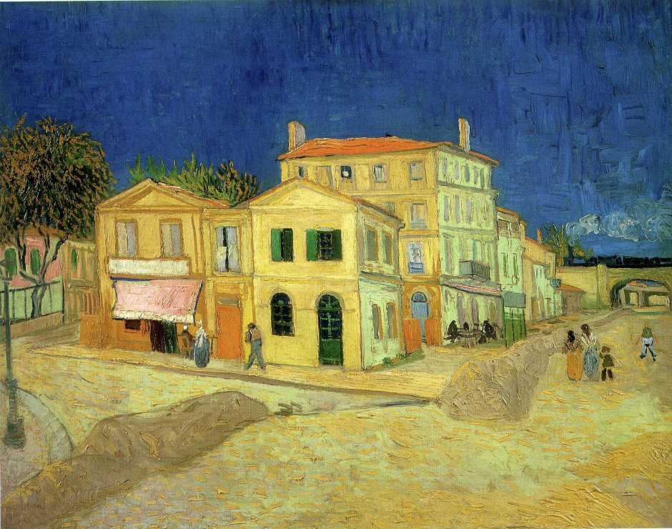 Vincent van Gogh, Vincent's House in Arles (The Yellow House) (1888), oil on canvas, 72 x 91.5 cm, Van Gogh Museum, Amsterdam. WikiArt.