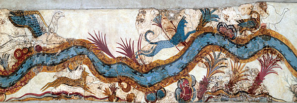 Anonymous, Akrotiri River (before c 1627 BC), fresco, Thera (Santorini, Greece). Wikimedia Commons.