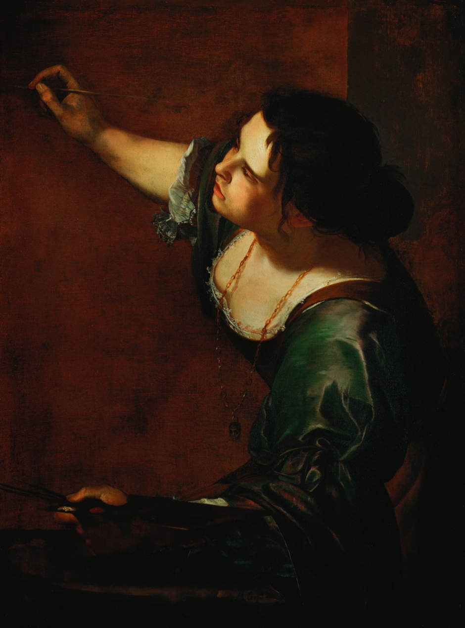 Artemisia Gentileschi, Allegory of Painting (c 1638-9), oil on canvas, 98.6 x 75.2 cm, The Queen's Collection, England. Wikimedia Commons.