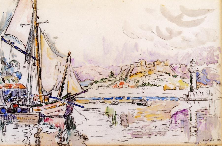 Paul Signac, Antibes (1917), watercolour and crayon, 29.85 x 45.1 cm, Private collection. WikiArt.