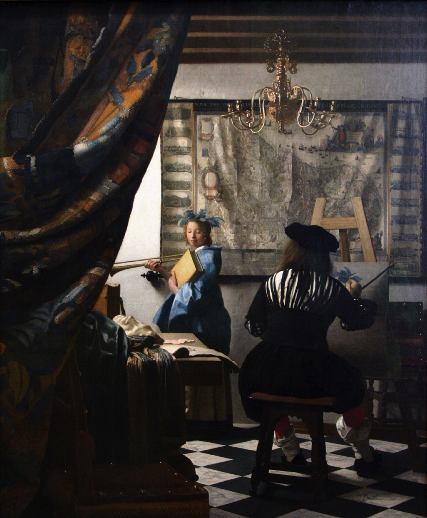Johannes Vermeer, The Art of Painting (c 1662-8), oil on canvas, 120 x 100 cm, Kunsthistorisches Museum, Vienna. WikiArt.