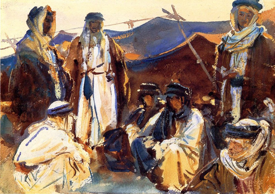 John Singer Sargent, Bedouin Camp (1905-6), watercolour on paper, 25.4 x 35.7 cm, Brooklyn Museum, New York. WikiArt.