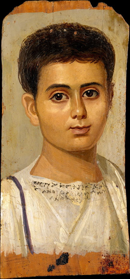 Anonymous, Funerary Portrait of the Boy Eutyches (c 100 - 150 CE), encaustic on panel, 38 x 19 cm, Metropolitan Museum of Art, New York. Wikimedia Commons.