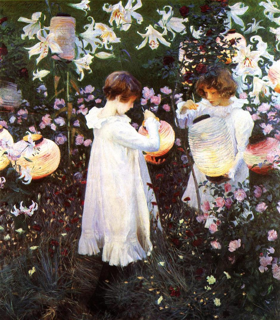 John Singer Sargent, Carnation, Lily, Lily, Rose (1885-6), oil on canvas, 174 x 153.7 cm, The Tate Gallery, London. WikiArt.