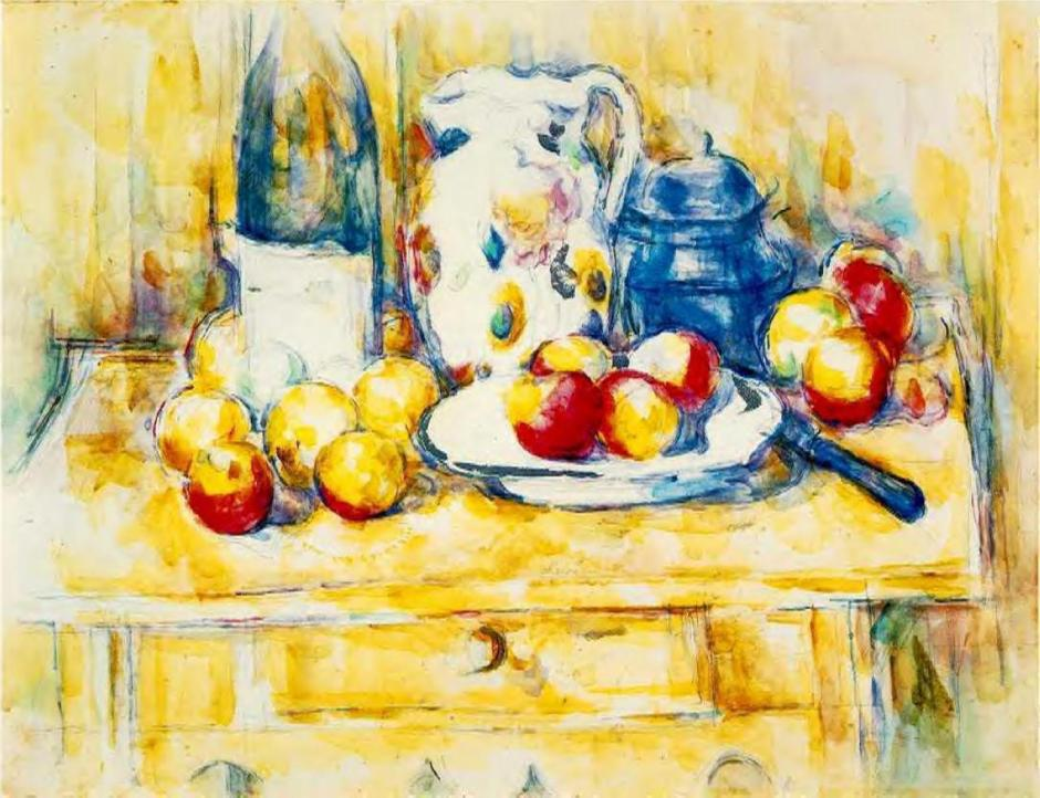 Paul Cézanne, Still Life with Apples on a Sideboard (1900-6), watercolour on paper, 47.9 x 62.9 cm, Dallas Museum of Art, Dallas, Texas. WikiArt.