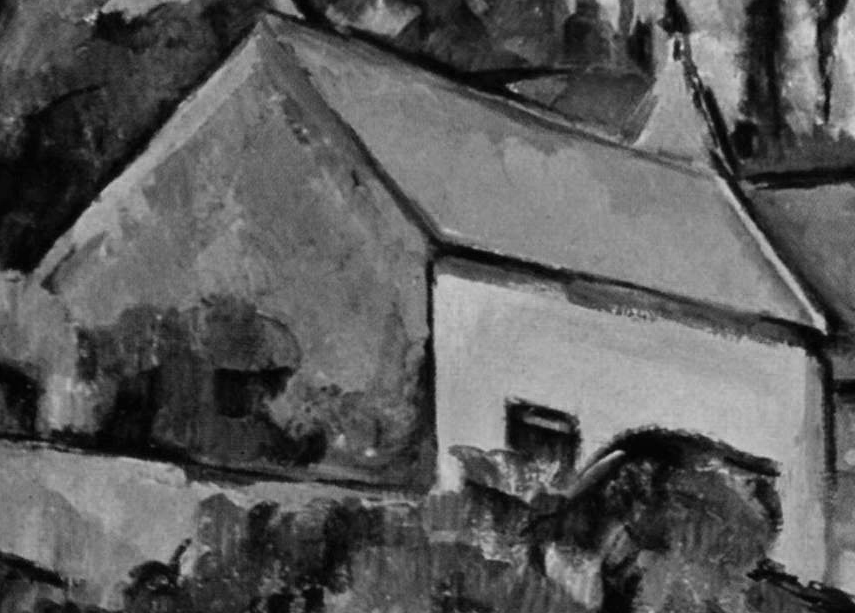 Paul Cézanne, The Turning Road at Montgeroult (detail) (1898), oil on canvas, 65.7 x 81.3 cm, Museum of Modern Art, New York. WikiArt. Shown desaturated using Photoshop.