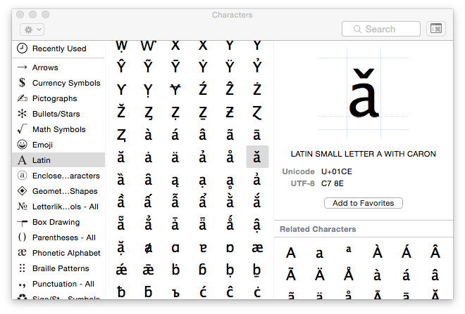 The Character Viewer allows you to insert any Unicode character into a document, provided that you have a font to display it.