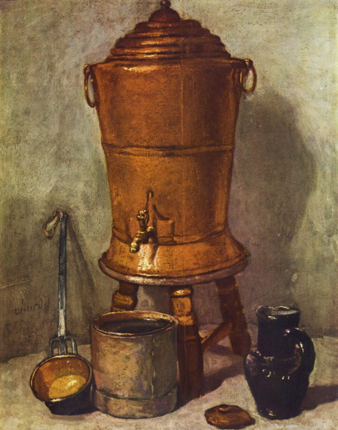 Jean-Baptiste-Siméon Chardin, The Copper Water Tank (c 1734), oil on panel, 28 x 23 cm, Musée du Louvre, Paris. WikiArt.