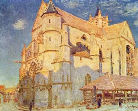 Alfred Sisley, The Church at Moret (1893), oil on canvas, 65 x 81 cm, Musée des Beaux-Arts, Rouen. WikiArt.