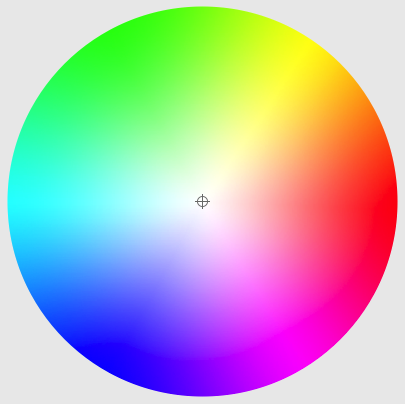 A computer colour wheel, showing changing hue, chroma, and lightness, but not the range of lightness for different combinations of hue and chroma.