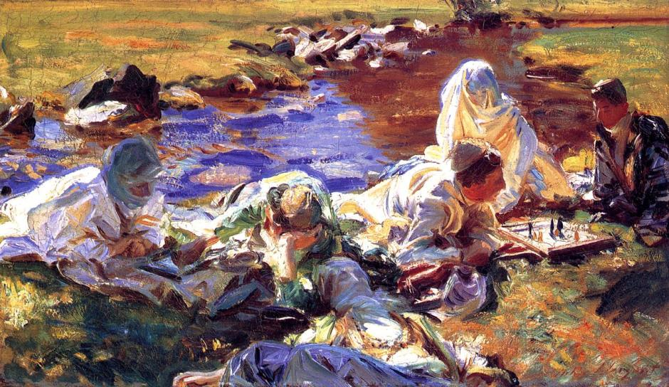 John Singer Sargent, Dolce Far Niente (Sweet Nothing, Pleasant Idleness) (1907), oil on canvas, 41.3 x 71.8 cm, Brooklyn Museum, New York. WikiArt.