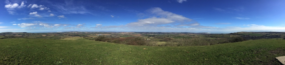 Panoramic view of the Isle of Wight from the Worsley Obelisk, 22 March 2015.