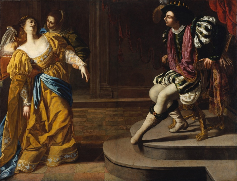 Artemisia Gentileschi, Esther before Ahasuerus (c 1626-9), oil on canvas, 208.3 x 273.7 cm, The Metropolitan Museum of Art, New York. Wikimedia Commons.