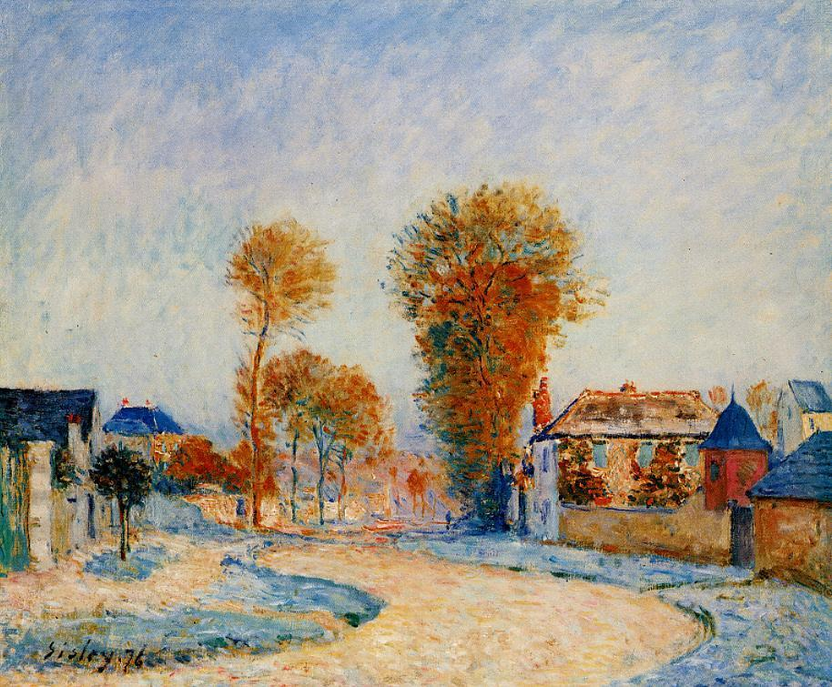 Alfred Sisley, The First Hoarfrost (1876), oil on canvas, Bridgeman Art Library. WikiArt.