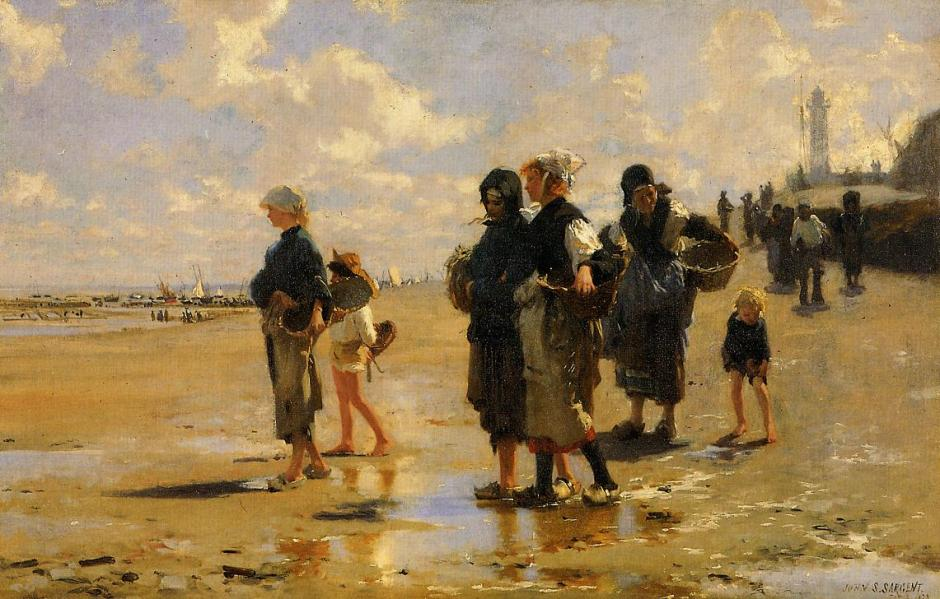 John Singer Sargent, Fishing for Oysters at Cancale (1878), oil on canvas, 41 x 61 cm, Museum of Fine Arts, Boston. WikiArt.