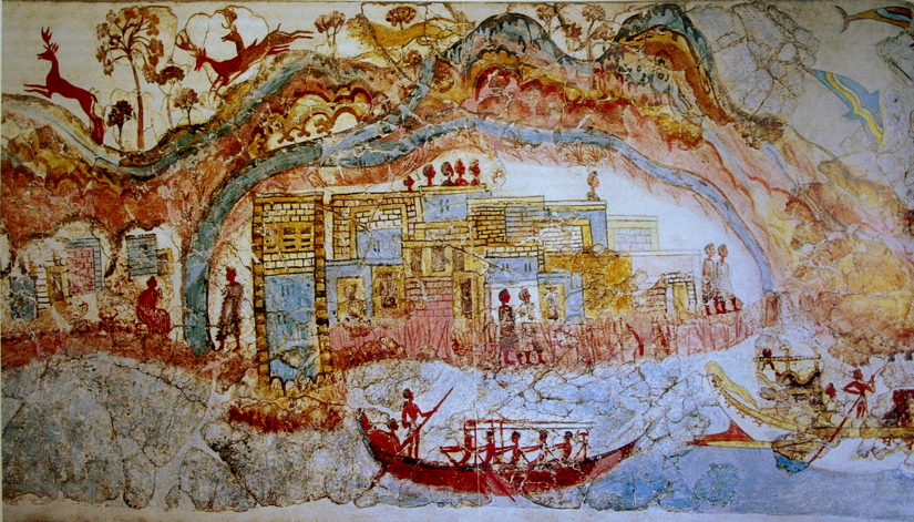 Anonymous, Flotilla Fresco (detail) (before c 1627 BC), fresco, Thera (Santorini, Greece). By pano by smial; modified by Luxo, Wikimedia Commons.
