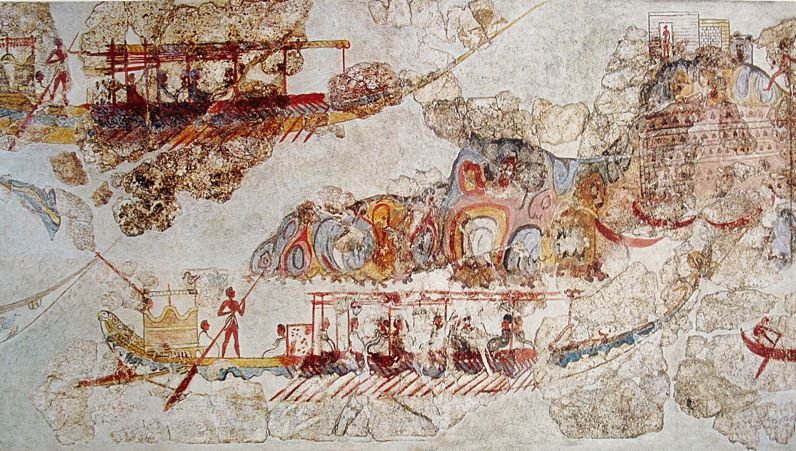 Anonymous, Flotilla Fresco (detail) (before c 1627 BC), fresco, Thera (Santorini, Greece). Wikimedia Commons.