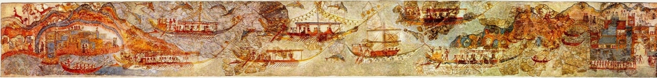 Anonymous, Flotilla Fresco (before c 1627 BC), fresco, Thera (Santorini, Greece). By pano by smial; modified by Luxo, Wikimedia Commons.