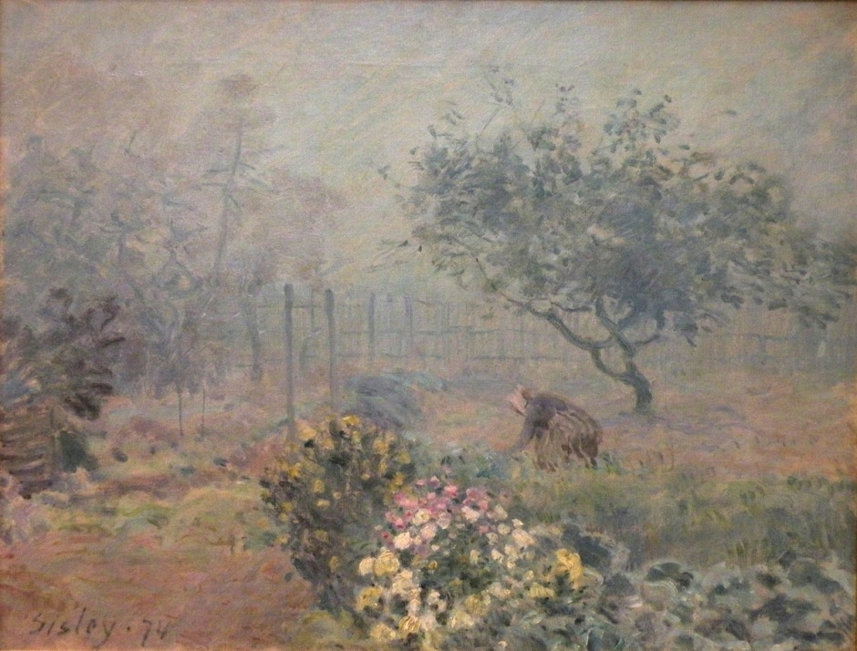 Alfred Sisley, Fog, Voisins (1874), oil on canvas, 50.5 x 65 cm, Musée d'Orsay, Paris. EHN & DIJ Oakley.
