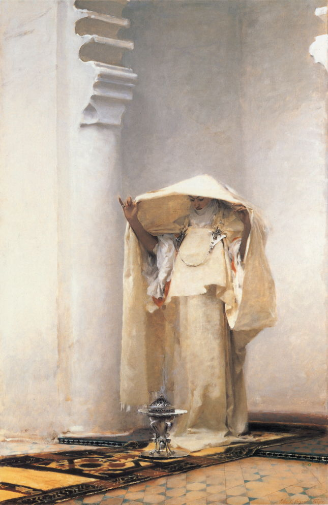 John Singer Sargent, Fumée d'ambre gris (Smoke of Ambergris) (1880), oil on canvas, 139.1 x 90.6 cm, Sterline and Francine Clark Art Institute, Williamstown, MA. WikiArt.