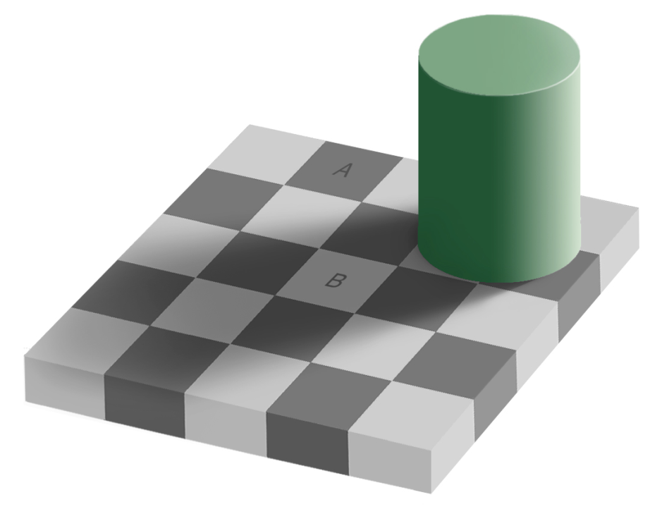 The Checker Shadow illusion. Squares A and B have the same lightness. Original by Edward H. Adelson, this file by Gustavb, via Wikimedia Commons.