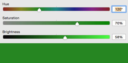 How given levels of brightness (or lightness, when fixed to the brightest white), hue, and chroma combine to define a green.