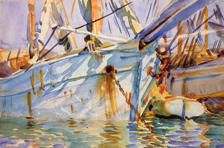 John Singer Sargent, In a Levantine Port (1905-6), watercolour and graphite on paper, 30.6 x 46 cm, Brooklyn Museum, New York. WikiArt.