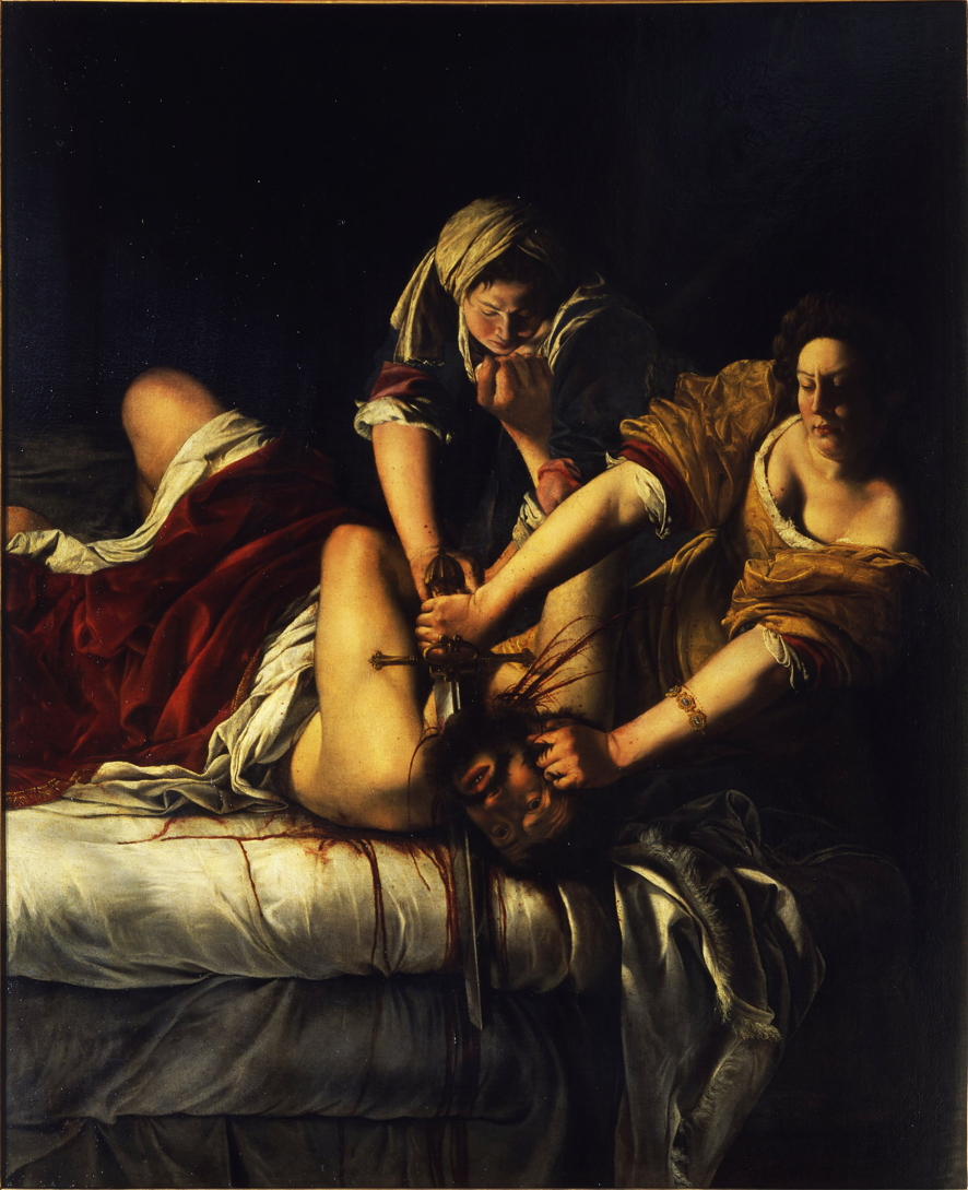 Artemisia Gentileschi, Judith Slaying Holofernes (1620-1), oil on canvas, 200 x 162.5 cm, Galleria della Uffizi, Florence. Wikimedia Commons.
