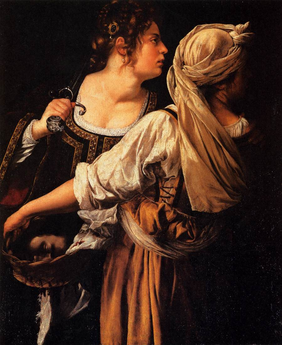 Artemisia Gentileschi, Judith and her Maidservant with the Head of Holofernes (1618-9), oil on canvas, 117 x 93 cm, Palazzo Pitti, Florence. Wikimedia Commons.