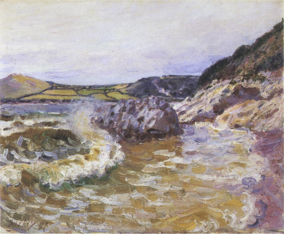 Alfred Sisley, Lady's Cove, West Side, Wales (1897), oil on canvas, 54.3 x 65.3 cm, Bridgestone Museum of Art, Tokyo. WikiArt.