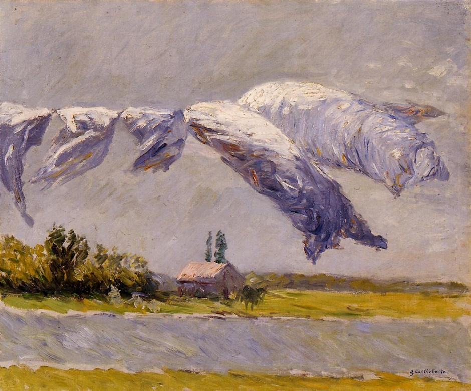Gustave Caillebotte, Linen out to Dry, Petit Gennevilliers (1888), oil on canvas, 106 x 151 cm, Wallraf-Richartz-Museum. WikiArt.