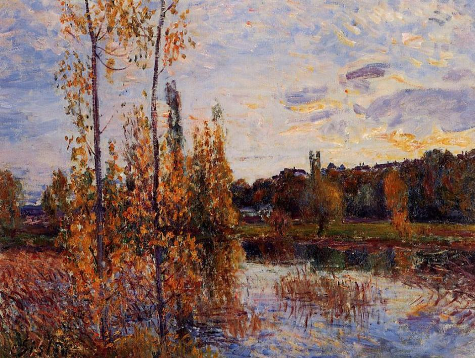 Alfred Sisley, l'Etang de Chevreuil (c 1888), oil on canvas, Private collection. WikiArt.