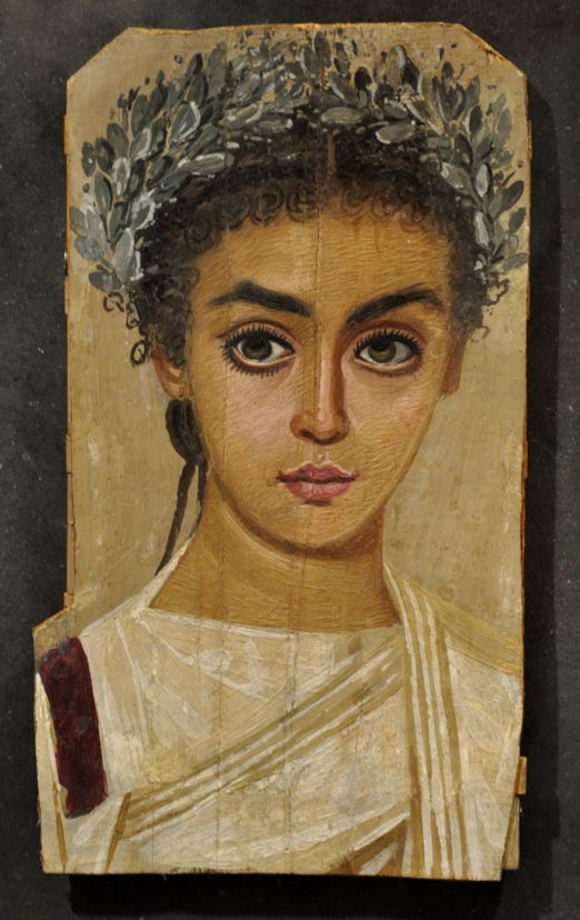 Anonymous, Funerary Portrait of a Young Woman (c 120 - 150 CE), encaustic on panel, Liebieghaus, Frankfurt am Main. By User:FA2010 (Own work), via Wikimedia Commons.