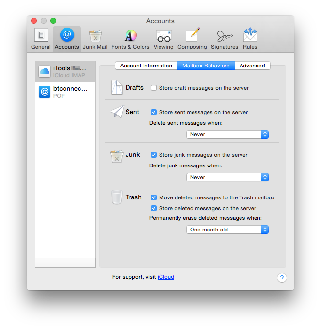 Mail's Mailbox Behaviours set for iCloud, an IMAP service, with its rich options.